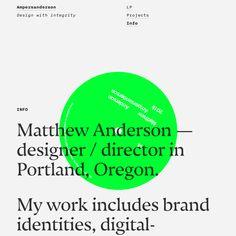 Matthew Anderon's portfolio site, featuring the typefaces Nocturno (serif) and Nitti (sans). Minimal Web Design, Graphic Design, Portfolio Site, Portfolio Design, Typography Inspiration, Web Design Inspiration, Book Design, Layout Design, Design Design