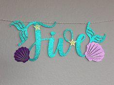Five Banner Little Mermaid Ariel Mermaid Letters Happy Mermaid Theme Birthday, Little Mermaid Birthday, Little Mermaid Parties, Under The Sea Theme, Under The Sea Party, Ariel Mermaid, Ariel The Little Mermaid, Birthday Party Themes, Birthday Ideas