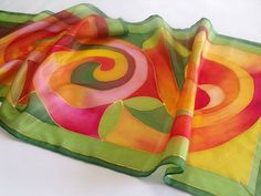 Oh my gosh the colors!  Store isn't open any more on Etsy. Hand painted silk scarf by Selymetfestek on Etsy, $42.00