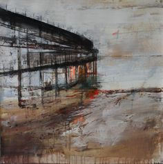 Muelle III.94x94 cms.Mixta/papel France Art, Paintings, Boat Dock, Paper Envelopes, Paint, Painting Art, Painting, Painted Canvas, Drawings