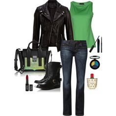 Green, black, leather. #outfit