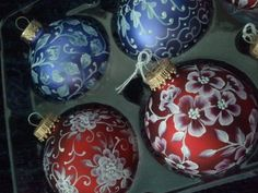 Hand painted Victorian look ornaments