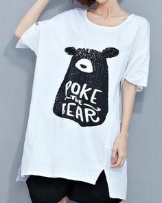 Poke the bear t shirt for women oversize white letter t shirts