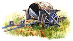 Original watercolour painting Wine Cart by Terry Harrison (watercolor)