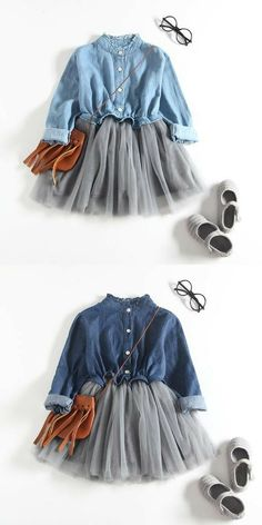 Denim Shirt for Toddler Girl Outfit Toddler Girl Style, Toddler Girl Outfits, Little Girl Dresses, Toddler Fashion, Kids Fashion, Fashion Outfits, Fashion Clothes, Fashion 2015, Baby Style