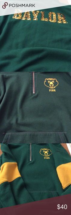 Victoria Secret Pink Baylor half zip sweater!🐻🐻 Baylor Bears green and yellow half zip sweater, bling letters on back. Super cute 🐻🐻 Preowned, plenty of life left. PINK Victoria's Secret Sweaters