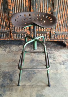 This custom French industrial stool has a wrought iron tractor seat for… Etsy Furniture, Bar Stools, Vintage Industrial Furniture, Iron Furniture, Bar Design, French Vintage, Welded Furniture, Industrial Stool, Stool