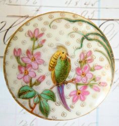 Delicate Antique Japanese Satsuma Button ~ hand painted bird, pink floral and gold gilt trim.