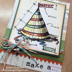 tim holtz birthday blueprint stamp cards | Paint with Distress Inks and add a few embellishments....WOW!