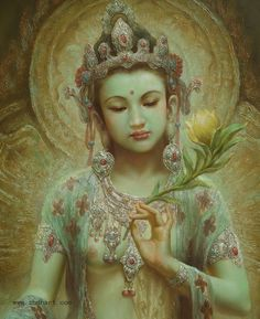 Zeng Hao ( 曾浩 ) Green Tara detail ---- Kwan Yin & Tara are one in the same to me.