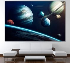 Solar System Art Large Planet Art Galaxy Print Space Poster Space Art Nasa Art Hubble Art Nebula Canvas Print Universe Print Planet by ArtWog Office Wall Decor, Office Walls, Home Decor Wall Art, Home Art, Love Wall Art, Colorful Wall Art, Wall Art Sets, Solar System Art, Solar System Planets