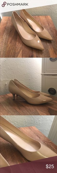 """Nine West Nude Patent Pointed Pumps, size 8.5 2.5"""" heel, nude patent upper in great condition, minimal scuffing on inside aspect of left mid shoe (as pictured in closeup) / purchased for medical school interviews and worn only once (I'm a flats girl!) / Listed price non-negotiable as individual item, however please contact if interested in purchasing multiple items--I'll combine with %10+ price drop from total and list as single item to ensure single shipping charge ❤️. Nine West Shoes Heels"""