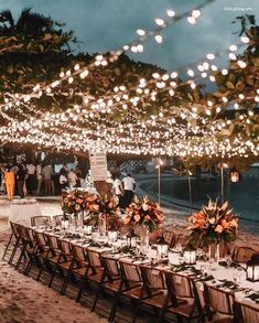 wedding lighting ideas for beach wedding Wedding Reception Lighting, Romantic Wedding Receptions, Wedding Reception Decorations, Romantic Weddings, Wedding Table, Wedding Ceremony, Rustic Wedding, Wedding Venues, Wedding Ideas