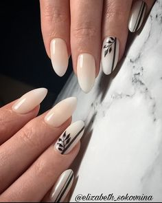 Cute Designs For Oval Nails To Rock Anywhere ~ Cute Nails, Pretty Nails, Hair And Nails, My Nails, Nail Manicure, Nail Polish, Latest Nail Art, Oval Nails, Artificial Nails