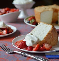 Angel Food Cake with Macerated Berries and Whipped Cream #recipe