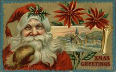 Santa With Holly on Hat and Poinsettias