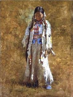 young caring woman,terpening howard | Howard Terpning - American painter of the Plain's Native Americans