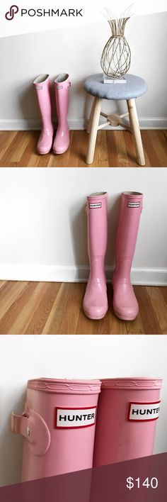P i n k • T a l l • H u n t e r • B o o t s • Sz8 Baby pink tall Hunter boots Sz 8. This color is beautiful and hard to find! These have been worn and show some dirt and one of the buckles on the side is broke but does not affect the wear. Insides are clean but has some blue staining from my jeans. Over all in great shape and absolutely beautiful! Please no low ball offers as these are hard to find and I'm in no hurry to sell! Hunter Shoes Winter & Rain Boots