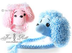 Ravelry: Loopy the Poodle Hat - Crochet PDF Pattern pattern by Ira Rott Crochet Animal Hats, Crochet Kids Hats, Crochet Beanie Hat, Crochet Cap, Crochet Bebe, Crochet Baby Clothes, Crochet Books, Crochet Character Hats, Tricot