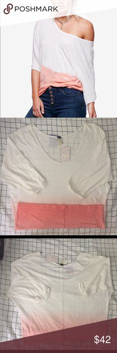 Free People Medium Strawberry Gradient Top New Women's Free People Medium Strawberry Gradient Top $68 reg  Size: Medium Style: OB562849  Materials: 52% Linen 48% cotton  Measurements: Chest: 23in Waist: 20.5in Length: 26in Free People Tops Blouses