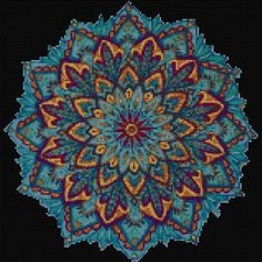 Blue Mandala Cross stitch pattern PDF- EASY chart with one color per sheet And traditional chart! Two charts in one! Cross Stitch Art, Cross Stitching, Cross Stitch Embroidery, Cross Stitch Patterns, Palestinian Embroidery, Needlepoint Patterns, Quilt Patterns, Le Point, Quilting Projects