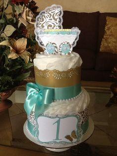 Gâteau de couche neutre or et Teal diaper par InspiredbyElena