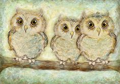 Three little owls watercolor