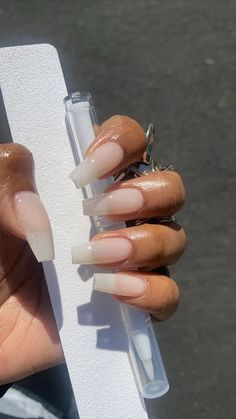 """I'll never get acrylic nails a day in my life ! Gel extensions are it! Natural Acrylic Nails, Square Acrylic Nails, Summer Acrylic Nails, Best Acrylic Nails, Perfect Nails, Gorgeous Nails, Pretty Nails, Polygel Nails, Glam Nails"