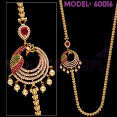 For Ordering, please WhatsApp to 897 809 9777 with Model Number of the item you want to purchase and Delivery Address Gold Chain Design, Gold Jewellery Design, Gold Jewelry, American Diamond Jewellery, Peacock Jewelry, Bandhani Saree, Peacock Design, Jewelry Model, Latest Jewellery