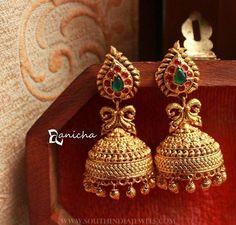 Imitation Ruby Jhuumka From Anicha ~ South India Jewels Gold Jhumka Earrings, Gold Bar Earrings, Jewelry Design Earrings, Gold Earrings Designs, Gold Jewellery Design, Gold Necklace, Antique Earrings, Pendant Jewelry, Diamond Earrings