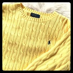 Ralph Lauren Sweater  Beautiful yellow, in excellent condition, Ralph Lauren Cableknit sweater. PERFECT for spring This is a boys size 14/16. It is mine & fits like a woman's small :) Ralph Lauren Sweaters Crew & Scoop Necks