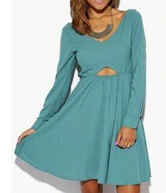 Sage Green Cut Out Back Babydoll Mini Dress
