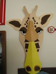 Fun Masks Out of Cardboard! Make Fun Masks Out of Cardboard!Make Fun Masks Out of Cardboard! Cardboard Animals, Cardboard Mask, Animal Masks For Kids, Mask For Kids, Vbs Crafts, Paper Crafts, Decoration Creche, Lion King Costume, Giraffe Costume