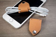 Personalize Name Stamp Cable Keeper / Leather cord organizer - Cable Holder- USB Holder -Tan Color