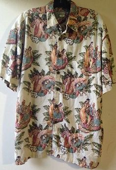 Robert Stock Hawaiian Leis Floral Hula Dancers Button Shirt Size L