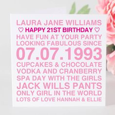 Personalised Birthday Card For Her From Notonthehighstreet 18th Cards