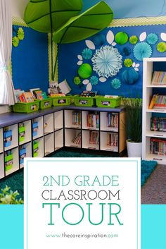 Our classroom library is my dream come true. The books are all labeled and shelved using the Core Inspiration classroom library labeling kit. Classroom Color Scheme, Classroom Layout, 3rd Grade Classroom, Classroom Setting, Classroom Design, Kindergarten Classroom, Classroom Themes, Future Classroom, Clean Classroom