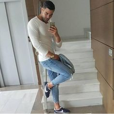 Slim Fit Ripped Jeans Men Hi-Street Mens Joggers Destroyed Jeans Slim Fit Ripped Jeans, Skinny Jeans, Urban Fashion, Mens Fashion, Outfits Hombre, Casual Wear For Men, Mens Joggers, Mens Clothing Styles, Stylish Men