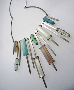 Necklace by Delphine Nardin  What if instead of stones it was pieces of enamel here?