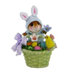 "Wee Forest Folk- ""Wee Bunny's Basket"" Sculpted by Donna Petersen."
