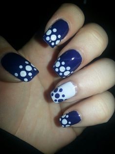 Navy and white dotticure.