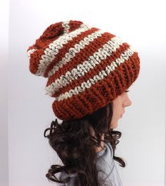 Knitted Chunky Slouchy Striped Beanie Hat /SPICE/ by MyNicePurses