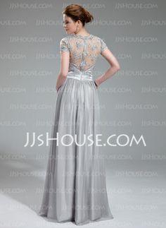 Vestidos princesa/ Formato A Decote V Vestidos longo Tecido de seda Charmeuse Vestidos de festa com Pregueado Renda Bordado (017019722) - JJsHouse