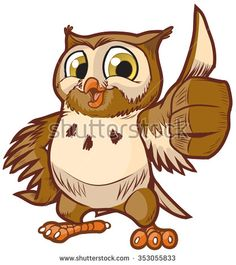 #Vector #cartoon #clipart #illustration of a cute and happy #owl #mascot giving the thumbs up hand gesture.