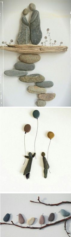 (I like the birds best!) Beautiful inspiration for art with rocks, twigs and other nature items. Natural art would be perfect for a garden or canvas.