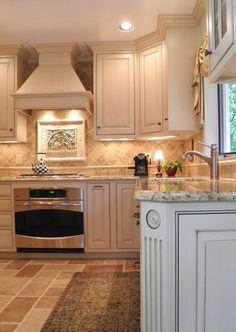 White Kitchen Cabinets Granite Countertops Tile Backsplash Under Cabinet Lighting Painting