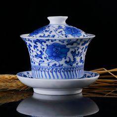 Chinese Gaiwan Porcelain Handicraft, Flowers Painting Tea Ceremony Cup, Handmade…