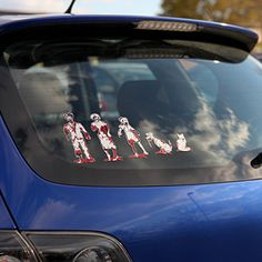 Show off your family pride with some humor with the zombie family car decals. Every member of the family from mom and dad to the family goldfish are represented in a gruesome style that depicts them as brain hungering zombies!