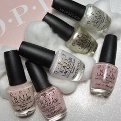 Soft Shades by OPI  Clockwise from the top is: Make Light Of the Situation, Put It In Neutral, Petal Soft, Act Your Beige!, Chiffon My Mind, This Silver Is Mine.   They look so lovely  and fluffy ☁️ can't wait to swatch them.   Thank you @opisverige and @goodprscandinavia   #opisoftshades