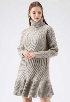 Lazy Daze Turtleneck Frilling Knit Dress